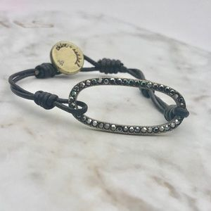 Leather & black Pave bracelet